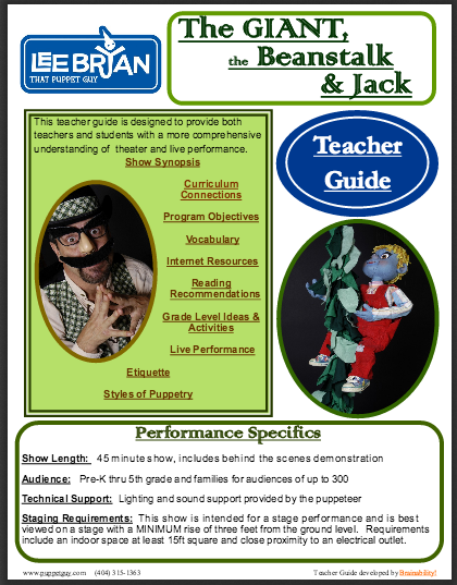 Elementary School Teacher Guide: The Giant, The Beanstalk, & Jack