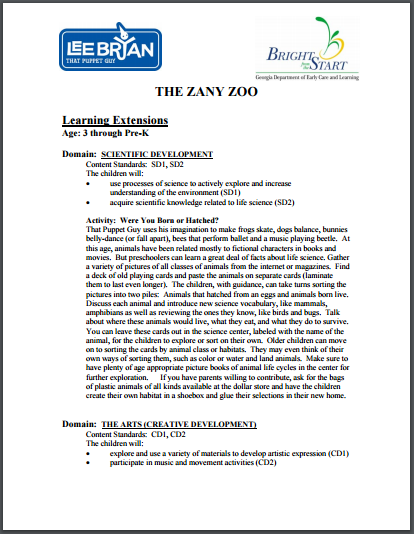 Bright From the Start Learning Extensions The Zany Zoo